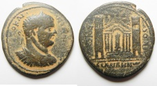 Ancient Coins - Decapolis. Abila under Caracalla (AD 198-217). AE medallion (34mm, 18.78g) . Struck in civic year 270 (AD 206/7).