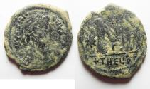 Ancient Coins - AS FOUND. NICE BYZANTINE . JUSTINIAN I AE FOLLIS. ANTIOCH