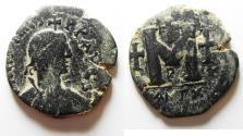 Ancient Coins - BYZANTINE. Justin I (518-527). AE follis (30mm, 12.57g). Antioch mint.