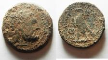 Ancient Coins - AS FOUND: EXTREMELY RARE : GREEK. PTOLEMAIC KINGS. PTOLEMY II PHILADELPHOS (285-246 BC). AE DIOBOL (30MM). AKE-PTOLEMAIS MINT.