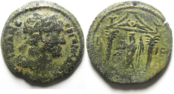 Ancient Coins - EGYPT , ALEXANDRIA , TRAJAN AE DRACHM , SARAPIS STANDNG IN TEMPLE, YEAR 15 , RARE