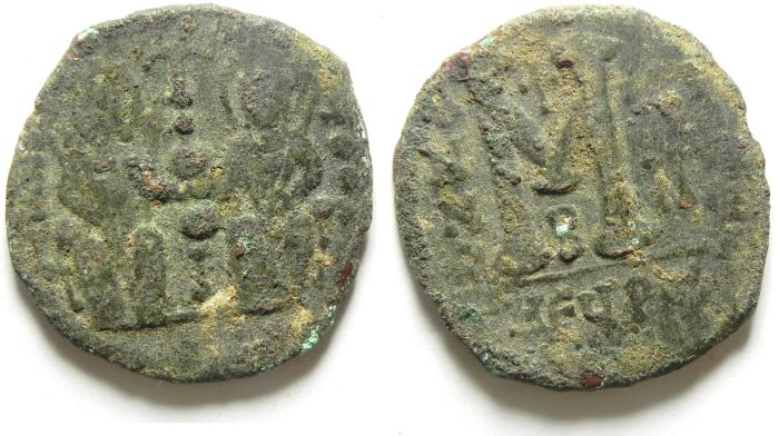 Ancient Coins - BEAUTIFULL BYZANTINE FOLLIS OF ANTIOCH , JUSTIN II & SOPHIA , AS FOUND