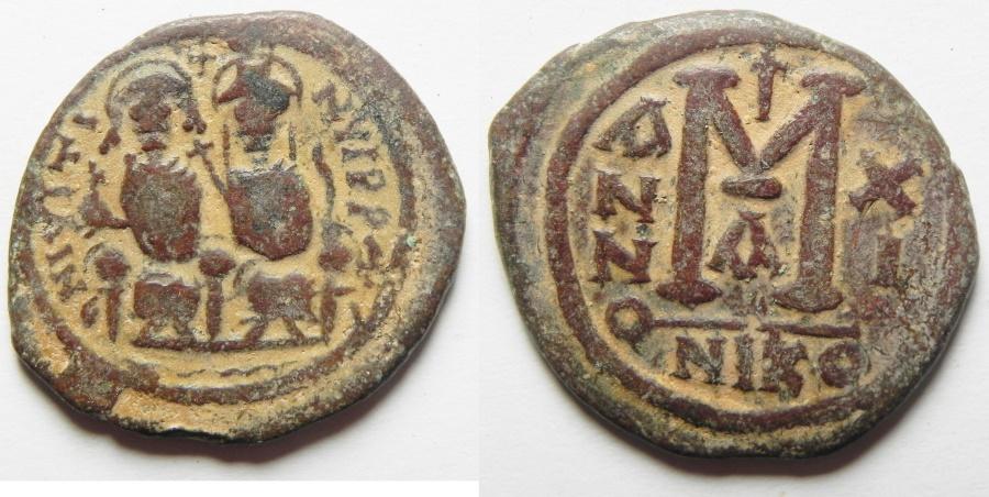 Ancient Coins - BYZANTINE, JUSTIN II & SOPHIA AE FOLLIS