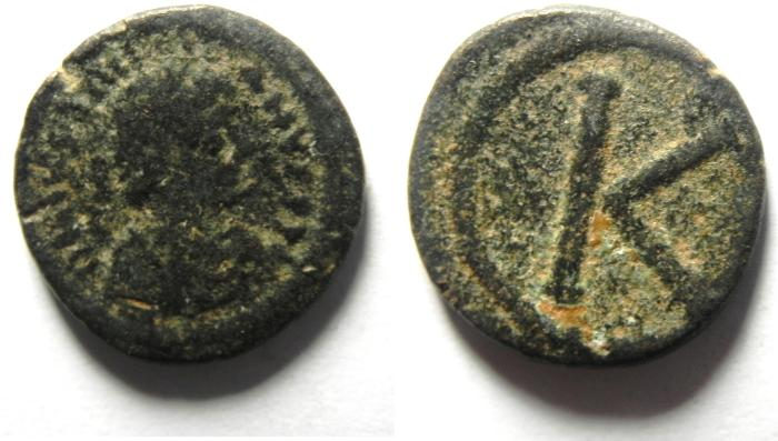 Ancient Coins - Byzantine Empire. Justinian I, AD 527-565. AE half follis , very rare Salona Mint - nice condition for the type.