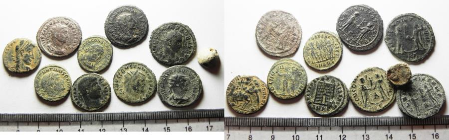 Ancient Coins - ROMAN. LOT OF 10 AE COINS. INCLUDING 1 LEAD SEAL. 4TH CENT. A.D