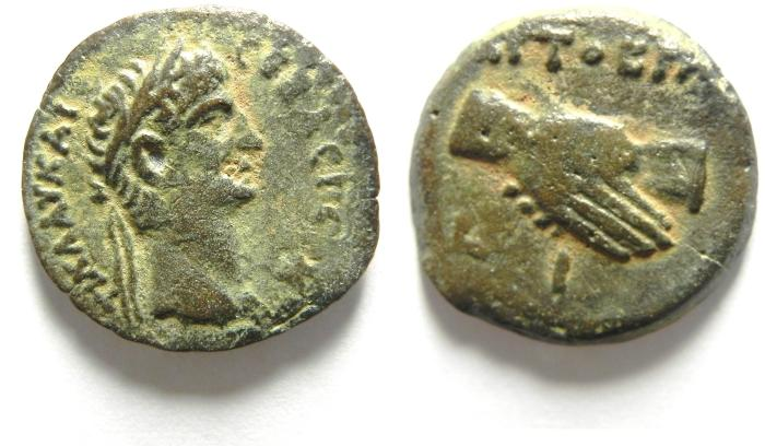 Ancient Coins - EGYPT , ALEXANDRIA , CLAUDIUS AE OBOL , BEAUTIFULL!!! YEAR 10