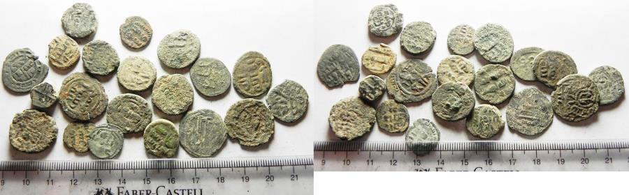 Ancient Coins - ISLAMIC. UMMAYYED. LOT OF 20 AE FALS COINS. AS FOUND. GREAT STUDY GROUP!