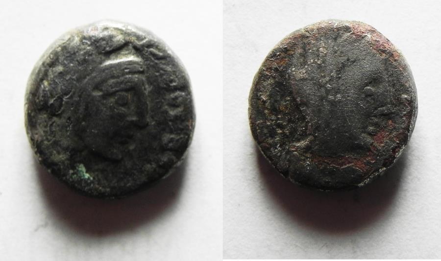 Ancient Coins - Nabatean Kingdom. Malichus II (AD 40-70). AR drachm (12mm, 2.57g). Struck c. AD 45/6-64/5.