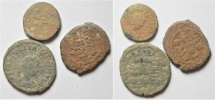 LOT OF 3 ANCIENT AE COINS, 2 ROMAN. 1 ISLAMIC