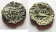 Ancient Coins - HUGE FLAN. AS FOUND: NABATAEAN KINGDOM. ARETAS IV & SHAQUELAT AE 22
