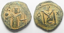 Ancient Coins - ISLAMIC. Ummayad Caliphate. Arab-Byzantine series. Damascus mint. AE fals (20mm, 3.22g). Imitating types of Constans II.