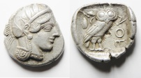 Ancient Coins - HIGHLY ATTRACTIVE: GREEK. Attica. Athens. AR tetradrachm (26mm, 16.6g). Struck c. 454-404 BC.