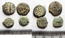Ancient Coins - LOT OF 4 ANCIENT JUDAEAN AE PRUTOT COINS