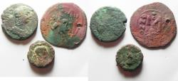 Ancient Coins - LOT OF 3 ANCIENT BRONZE COINS. NYSA-SCYTHOPOLIS. ALEXANDRIA. BYZANTINE