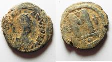 Ancient Coins - BYZANTINE EMPIRE. JUSTINIAN I BRONZE FOLLIS