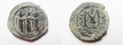 Ancient Coins - ISLAMIC. ARAB-BYZANTINE AE FALS. 650 - 700 A.D . TIBERIAS MINT