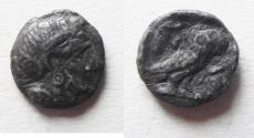 Ancient Coins - ARABIA, Southern. Saba'. Late 4th–mid 2nd centuries BC. AR tmrt – Quarter Unit (11mm, 1.01 g). Imitating Athens.