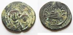 Ancient Coins - BYZANTINE. HERACLIUS. BRONZE CORE OF A FOUREE GOLD SOLIDUS