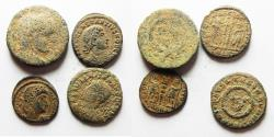 Ancient Coins - LOT OF 4 ROMAN BRONZE COINS AS FOUND