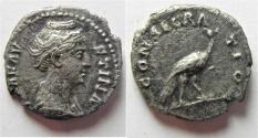 Ancient Coins - Diva FAUSTINA I, - AD 141. Denarius, Rome, after AD 141. PEACOCK