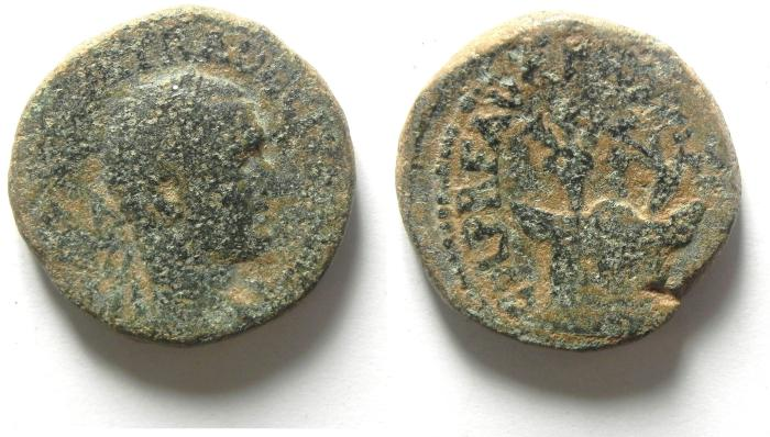 Ancient Coins - JUDAEA, CAESAREA , VOLOUSIAN AE 26 , AS FOUND