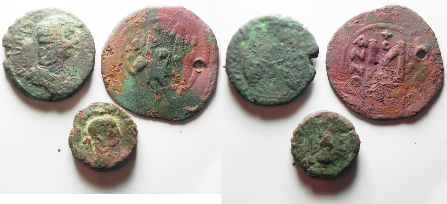 Ancient Coins - LOT OF 3 ANCIENT BRONZE COINS. NYSA-SCYTHOPOLIS. ALEXANDRIA. BYZANTINE