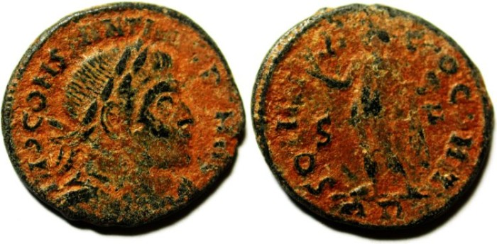 Ancient Coins - CONSTANTINE I AE FOLLIS, NICE NATURAL PATINA