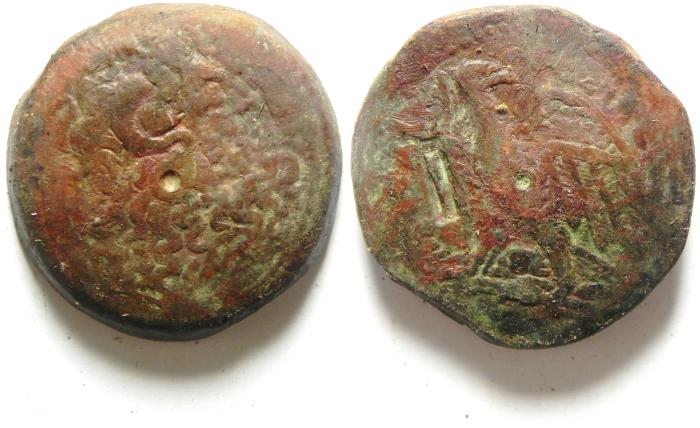 Ancient Coins - PTOLEMAIC KINGDOM , PTOLEMY IV AE 35 , 39.80 GM , COUNTERMARKED