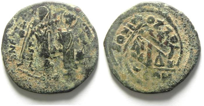 Ancient Coins - HERACLIUS AE FOLLIS, NICE , OVERSTRUCK
