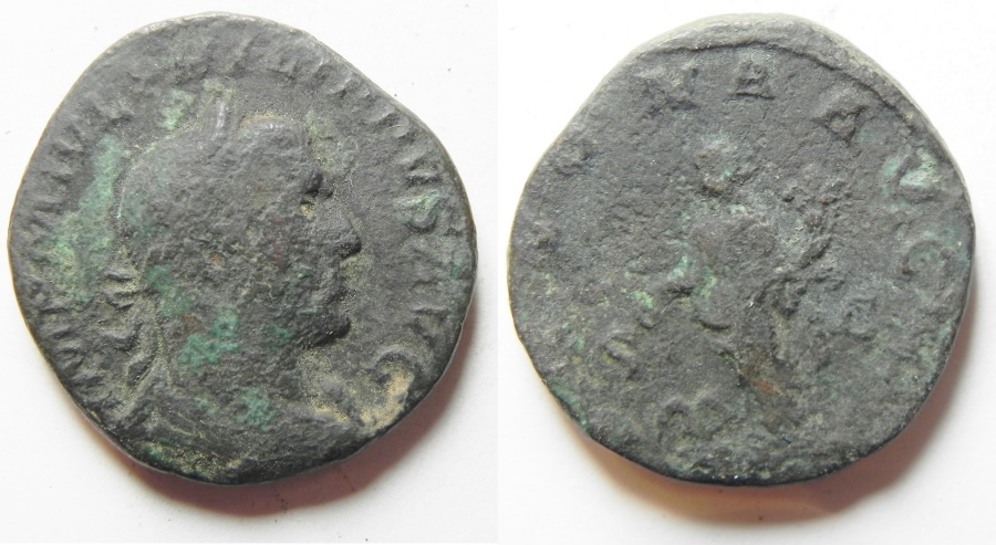 Ancient Coins - philip i ae sestertius as found