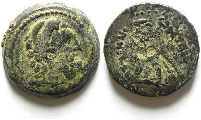 "Ancient Coins - PTOLEMY VI ""PHILOMETOR"" - 180 - 145 B.C , Æ24 , BEARDED HERAKLES"