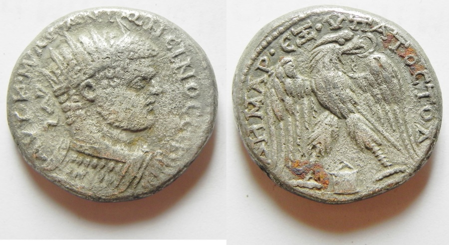 Ancient Coins - Mesopotamia. Edessa under Caracalla (198-217). AR tetradrachm (25mm, 14.43g). Struck c. AD 215-217