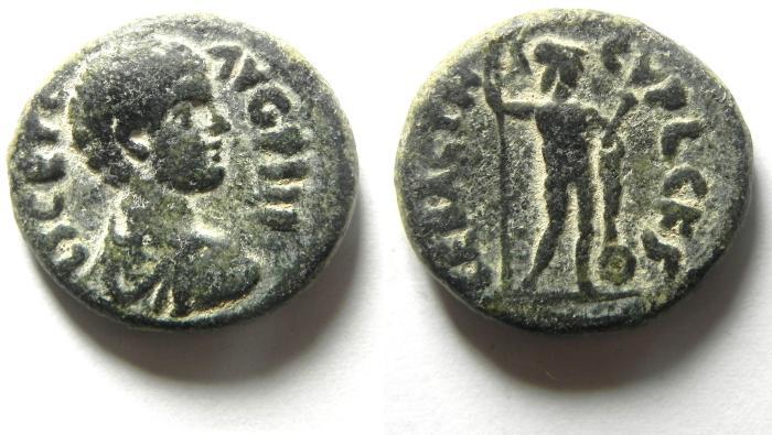 Ancient Coins - JUDAEA, Sebaste. Geta, As Caesar, AD 198-209, Æ 22mm. RARE!!