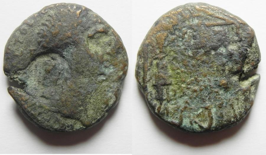 Ancient Coins - Judaea. Herodian dynasty. Agrippa I with Caligula (37-43 CE). AE 23mm, 11.84g. Caesarea Maritima mint. Struck in regnal year 7 (42/3 CE).