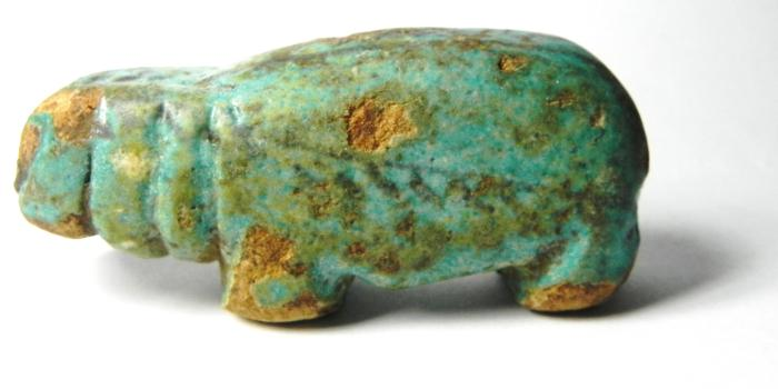 Ancient Coins - ANCIENT EGYPT , 12TH DYNASTY - 2000 - 1600 B.C , FAIENCE FIGURE OF A Hippopotamus , VERY RARE!!!!