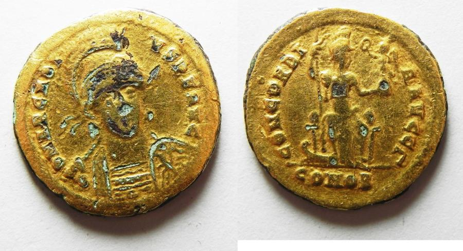 Ancient Coins - ROMAN IMPERIAL. Arcadius (AD 397-402). AV plated AE solidus (20mm, 4.08g). Contemporary counterfeit of Constantinople mint issue.