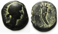 Ancient Coins - Roman Provincial. Egypt. Alexandria under Augustus (27 BC-AD14). AE diobol , Head of Livia