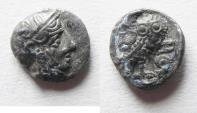 Ancient Coins - ARABIA, Southern. Saba'. Late 4th–mid 2nd centuries BC. AR tmrt – Quarter Unit (11mm, 1.04 g). Imitating Athens.