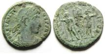 Ancient Coins - CONSTANTIUS II AE 3 , WITH CHRISTIAN CHI RHO STANDARD