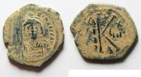 Ancient Coins - NICE AS FOUND TIBERIUS II CONSTANTINE AE HALF FOLLIS