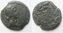 Ancient Coins - Egypt. Alexandria Livia under Augustus (27 BC-AD14). AE diobol (24mm, 8.05g). Date within Wreath