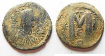 Ancient Coins - BYZANTINE. Justinian I AE FOLLIS.