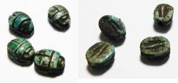 Ancient Coins - ANCIENT EGYPT. LOT OF FOUR STONE SCARABS.  New Kingdom, 1400 - 1200 B.C - Egypt