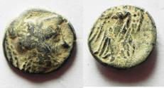 Ancient Coins - OVER-STRUCK ON A PTOLEMY II AE : NABATAEAN KINGDOM. ARETAS II/III AE 16