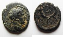 Ancient Coins - BEAUTIFUL. DECAPOLIS. GADARA. TITUS. WITH CROSS. AE 18