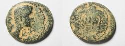 Ancient Coins - Judaea. Herodian dynasty. Herod Philip with Augustus. 4 BCE-34 CE. AE 23mm, 4.82gm. Caesarea Panias