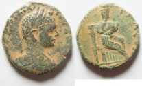Ancient Coins - Only three specimens of this large denomination known to Barkay.: Samaria. Nysa-Scythopolis under Elagabalus (218-222 CE). AE 28mm, 14.98g