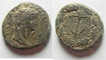 Ancient Coins - Samaria. Caesarea Maritima under Claudius (AD 41-54). AE 23mm, 8.15g). AGRIPPA II