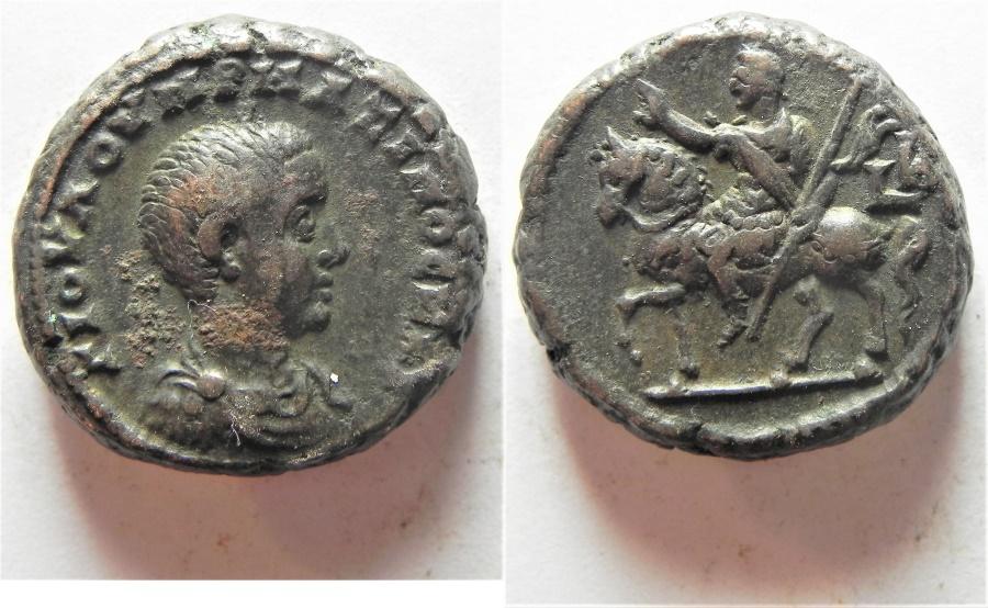 Ancient Coins - UNPUBLISHED MULE: Egypt. Alexandria under Maximus Caesar (AD 235-238). Billon tetradrachm (22mm, 14.81g).