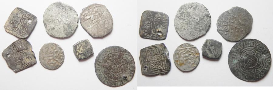 World Coins - LOT OF 7 MIDIEVEL SILVER MOSTLY ISLAMIC, AYYUBID & MAMLUK